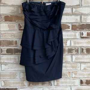 F21 Aryn K Pleat Front Strapless Dress Sz L